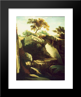 Landscape From Italy: Modern Black Framed Art Print by Gheorghe Tattarescu