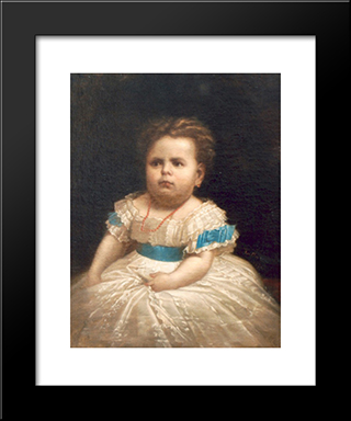 Marioara, The Daughter Of The Painter: Modern Black Framed Art Print by Gheorghe Tattarescu