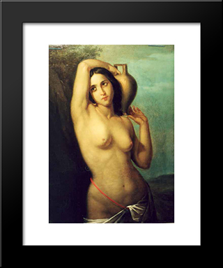 Nude: Modern Black Framed Art Print by Gheorghe Tattarescu