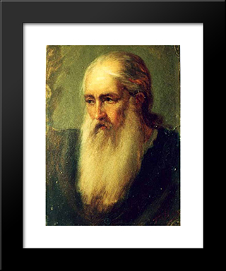 Old Monk: Modern Black Framed Art Print by Gheorghe Tattarescu