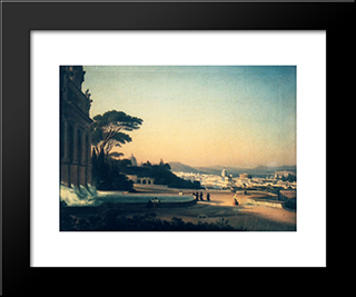 On Gianicolo: Modern Black Framed Art Print by Gheorghe Tattarescu