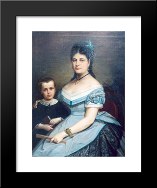Painter'S Wife And His Son: Modern Black Framed Art Print by Gheorghe Tattarescu