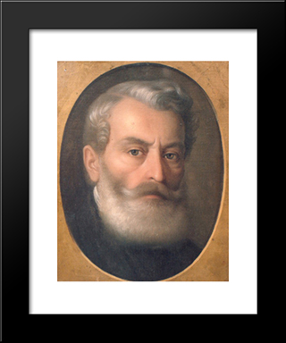 Portrait Of Painter Constantin Lecca: Modern Black Framed Art Print by Gheorghe Tattarescu