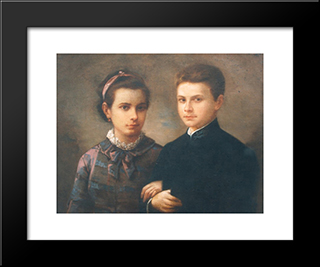 The Children Of The Painter: Modern Black Framed Art Print by Gheorghe Tattarescu