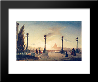 The Terrace On Monte Pincio: Modern Black Framed Art Print by Gheorghe Tattarescu