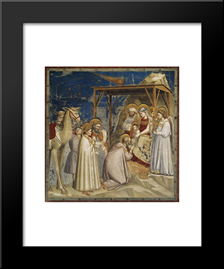Adoration Of The Magi: Modern Black Framed Art Print by Giotto