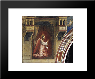 Annunciation The Angel Gabriel Sent By God: Modern Black Framed Art Print by Giotto