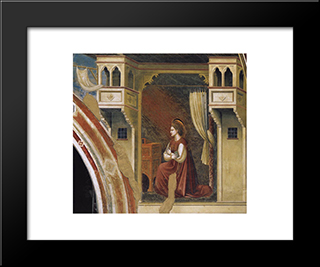 Annunciation The Virgin Receiving The Message: Modern Black Framed Art Print by Giotto