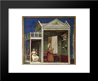 Annunciation To St Anne: Modern Black Framed Art Print by Giotto
