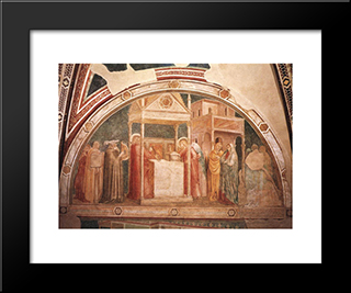 Annunciation To Zacharias: Modern Black Framed Art Print by Giotto