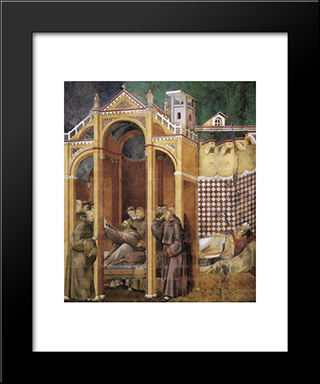 Apparition To Fra Agostino And To Bishop Guido Of Arezzo: Modern Black Framed Art Print by Giotto
