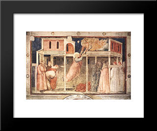 Ascension Of The Evangelist: Modern Black Framed Art Print by Giotto