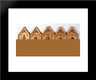 Badia Polyptych: Modern Black Framed Art Print by Giotto