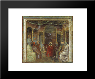 Christ Among The Doctors: Modern Black Framed Art Print by Giotto