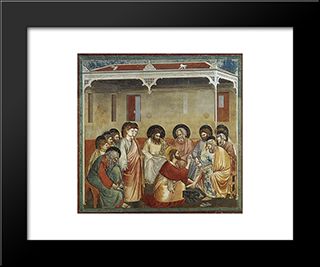 Christ Washing The Disciples' Feet: Modern Black Framed Art Print by Giotto