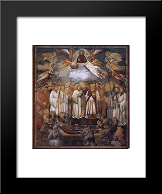 Death And Ascension Of St. Francis: Modern Black Framed Art Print by Giotto