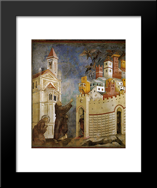 Exorcism Of The Demons At Arezzo: Modern Black Framed Art Print by Giotto