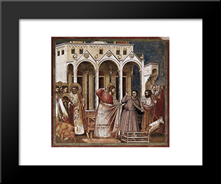 Expulsion Of The Money-Changers: Modern Black Framed Art Print by Giotto