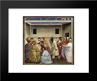Flagellation: Modern Black Framed Art Print by Giotto