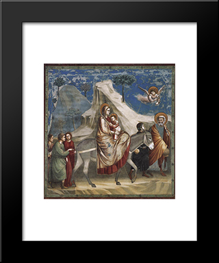 Flight Into Egypt: Modern Black Framed Art Print by Giotto