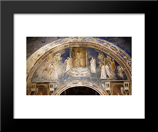 God Sends Gabriel To The Virgin: Modern Black Framed Art Print by Giotto
