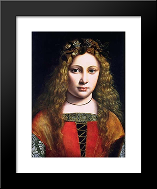 A Youth Crowned With Flowers: Modern Black Framed Art Print by Giovanni Antonio Boltraffio