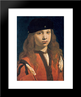 Francesco Sforza, Count Of Pavia: Modern Black Framed Art Print by Giovanni Antonio Boltraffio