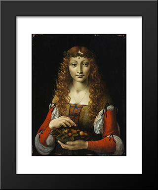 Girl With Cherries (Also Attributed To Giovanni Ambrogio De Predis): Modern Black Framed Art Print by Giovanni Antonio Boltraffio