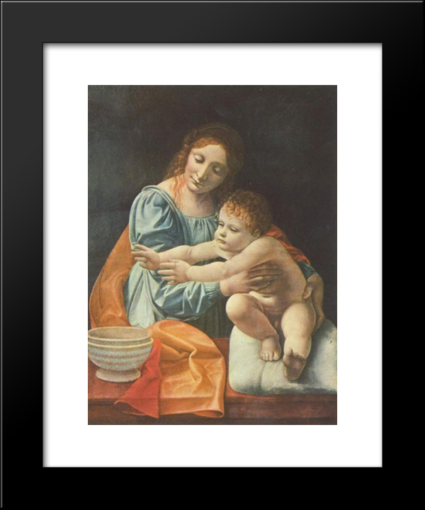 Madonna And Child: Modern Black Framed Art Print by Giovanni Antonio Boltraffio
