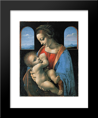 Madonna Litta: Modern Black Framed Art Print by Giovanni Antonio Boltraffio
