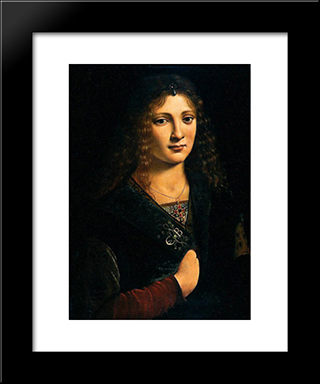 Portrait Alleged To Be Of Anne Whateley (In Fact Likely To Be Girolamo Casio): Modern Black Framed Art Print by Giovanni Antonio Boltraffio
