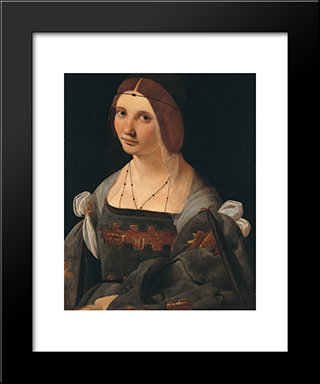 Portrait Of A Lady: Modern Black Framed Art Print by Giovanni Antonio Boltraffio