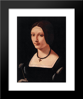 Portrait Of A Lady As St. Lucy: Modern Black Framed Art Print by Giovanni Antonio Boltraffio