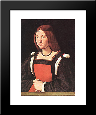 Portrait Of A Young Woman: Modern Black Framed Art Print by Giovanni Antonio Boltraffio