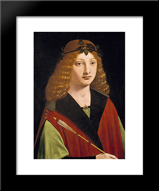 Portrait Of A Youth Holding An Arrow: Modern Black Framed Art Print by Giovanni Antonio Boltraffio