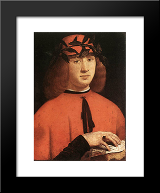 Portrait Of Gerolamo Casio: Modern Black Framed Art Print by Giovanni Antonio Boltraffio