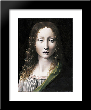 The Adolescent Saviour: Modern Black Framed Art Print by Giovanni Antonio Boltraffio