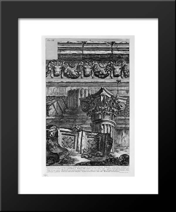 Dimostazione Various Ornaments Of The Temple Of Vesta: Modern Black Framed Art Print by Giovanni Battista Piranesi