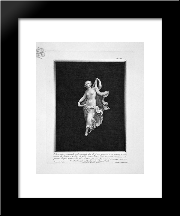 Half-Naked Dancer, Taken From A Painting Of Ancient Pompeii: Modern Black Framed Art Print by Giovanni Battista Piranesi