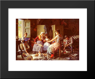 A Happy Family: Modern Black Framed Art Print by Giovanni Battista Torriglia
