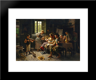 Admiring The Baby: Modern Black Framed Art Print by Giovanni Battista Torriglia