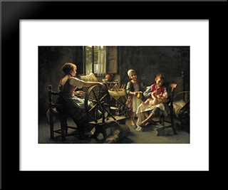 Family In An Interior: Modern Black Framed Art Print by Giovanni Battista Torriglia