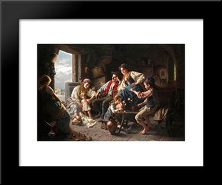 The Fisherman'S Family: Modern Black Framed Art Print by Giovanni Battista Torriglia
