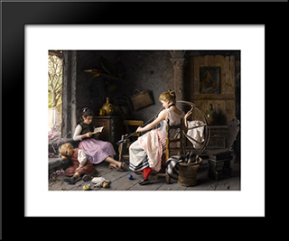 The Spinning Wheel: Modern Black Framed Art Print by Giovanni Battista Torriglia