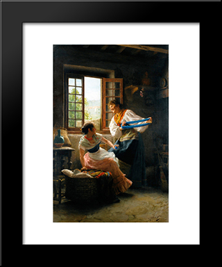 The Wool Winders: Modern Black Framed Art Print by Giovanni Battista Torriglia