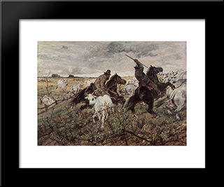 Cowboys And Herds In The Maremma: Modern Black Framed Art Print by Giovanni Fattori