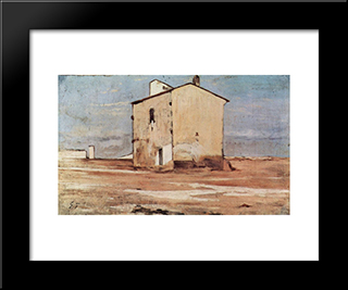 Der Schindanger In Livorno: Modern Black Framed Art Print by Giovanni Fattori