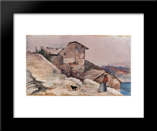 Gehoft In Den Hugeln: Modern Black Framed Art Print by Giovanni Fattori