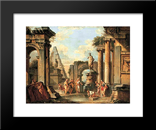 A Capriccio Of Classical Ruins With Diogenes Throwing Away His Cup: Modern Black Framed Art Print by Giovanni Paolo Panini