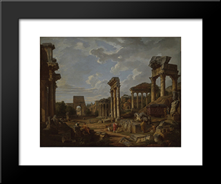 A Capriccio Of The Roman Forum: Modern Black Framed Art Print by Giovanni Paolo Panini